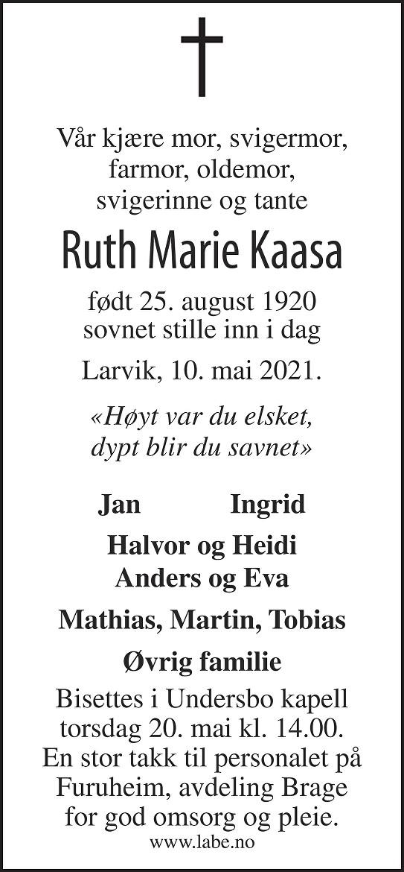 Ruth Marie Kaasa Dødsannonse