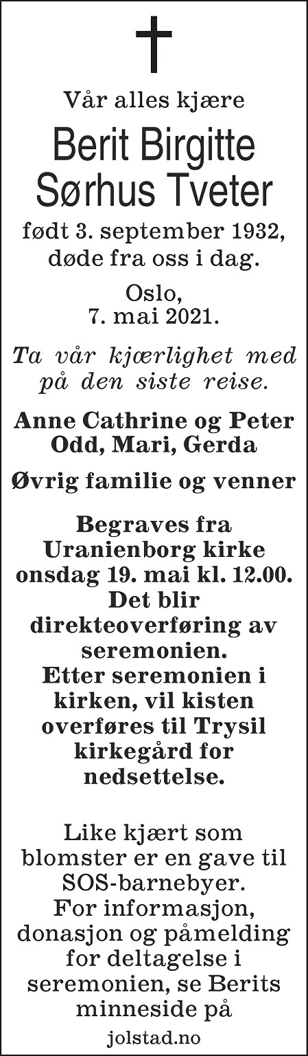 Berit Birgitte Sørhus Tveter Dødsannonse