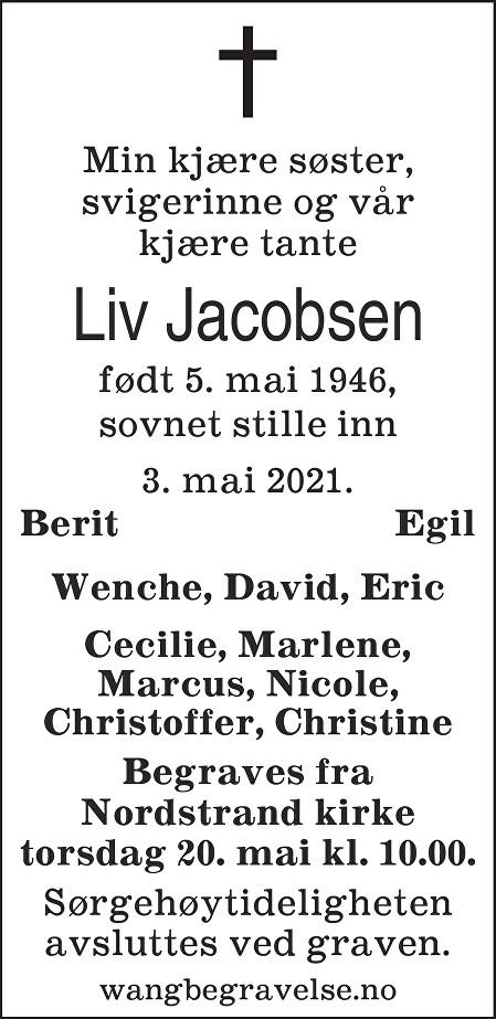Liv Jacobsen Dødsannonse