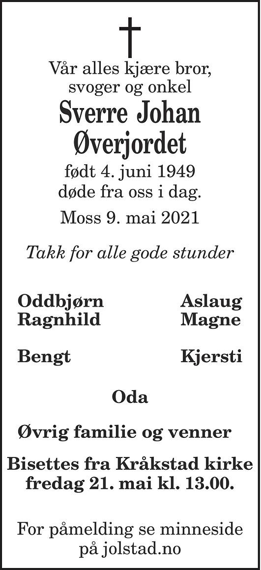 Sverre Johan Øverjordet Dødsannonse