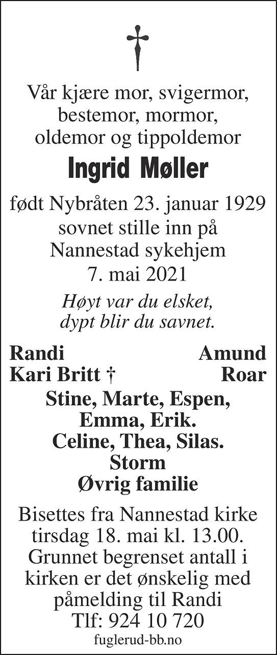 Ingrid Møller Dødsannonse