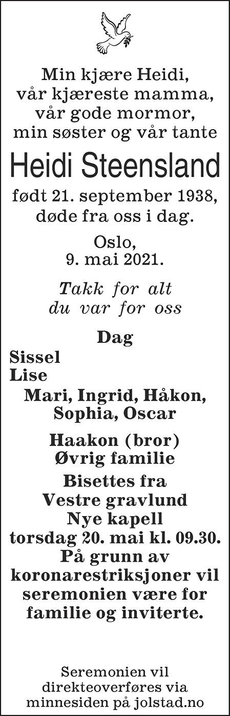 Heidi Steensland Dødsannonse