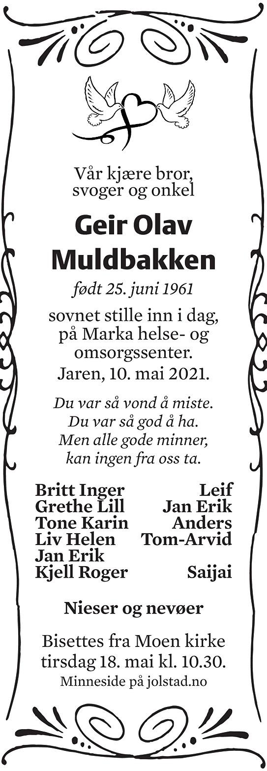 Geir Olav Muldbakken Dødsannonse