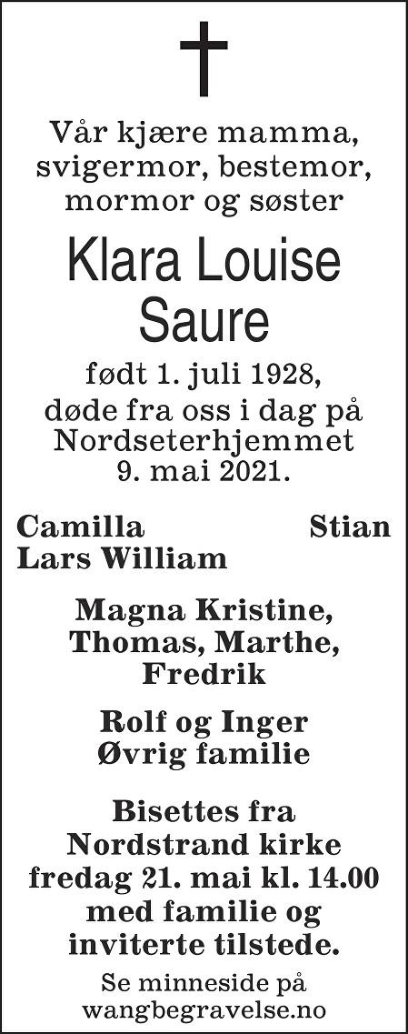 Klara Louise Saure Dødsannonse