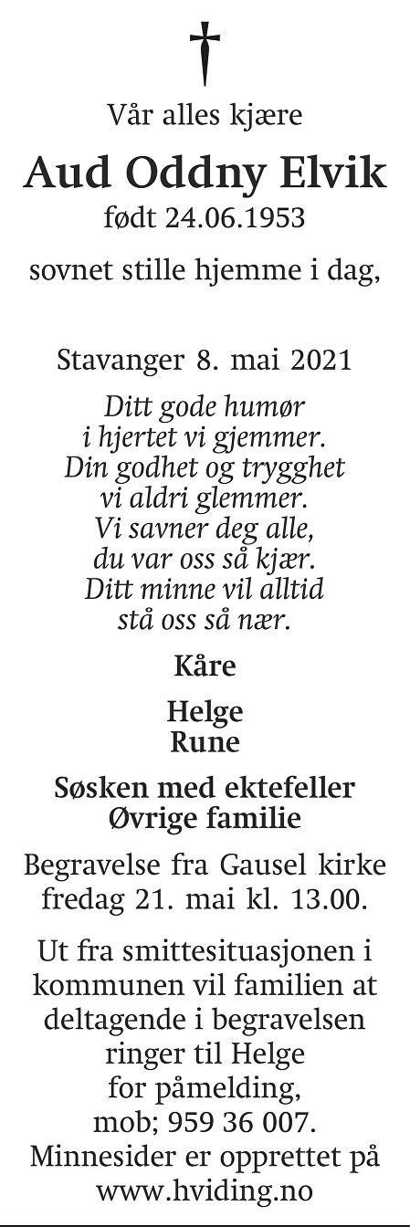Aud Oddny  Elvik Dødsannonse
