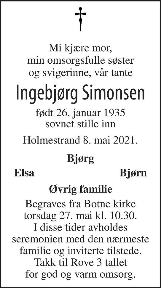 Ingebjørg Simonsen Dødsannonse