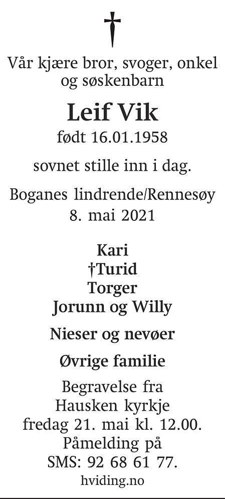 Leif Vik Dødsannonse