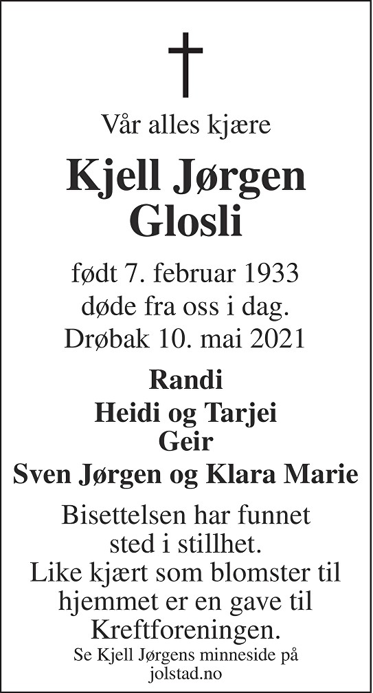 Kjell Jørgen Glosli Dødsannonse