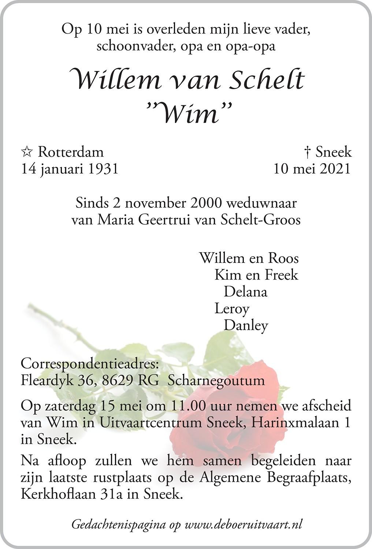Wim van Schelt Death notice