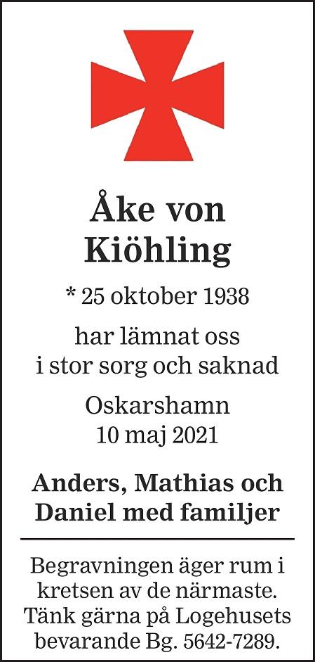 Åke von Kiöhling Death notice
