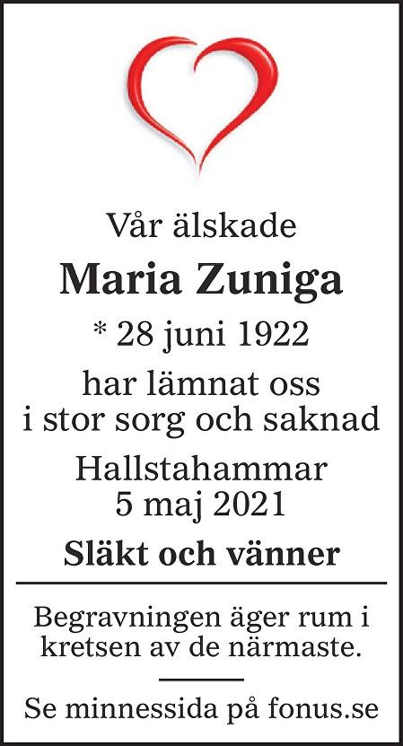 Maria  Zuniga Aguilar Death notice