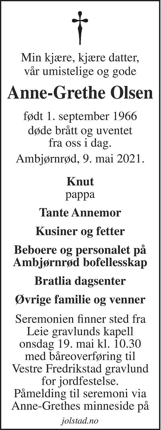 Anne-Grethe Olsen Dødsannonse