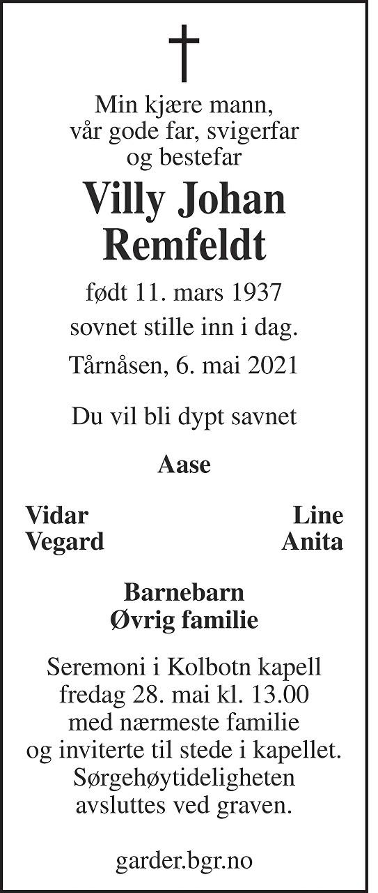 Villy Johan Remfeldt Dødsannonse