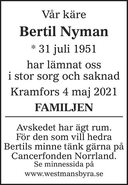 Bertil Nyman Death notice