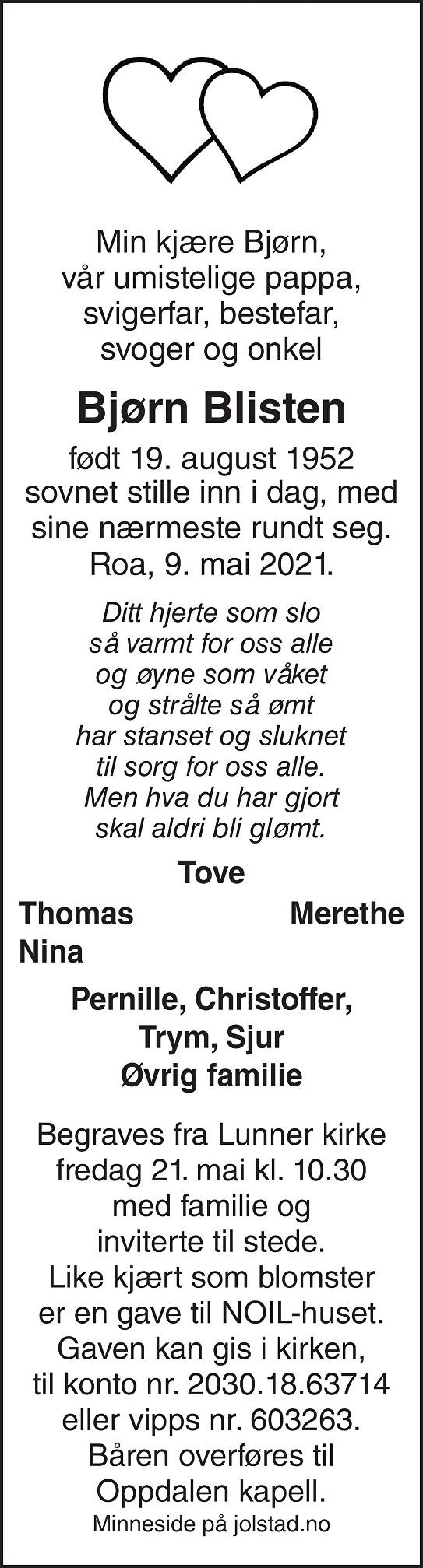 Bjørn Ingar Blisten Dødsannonse