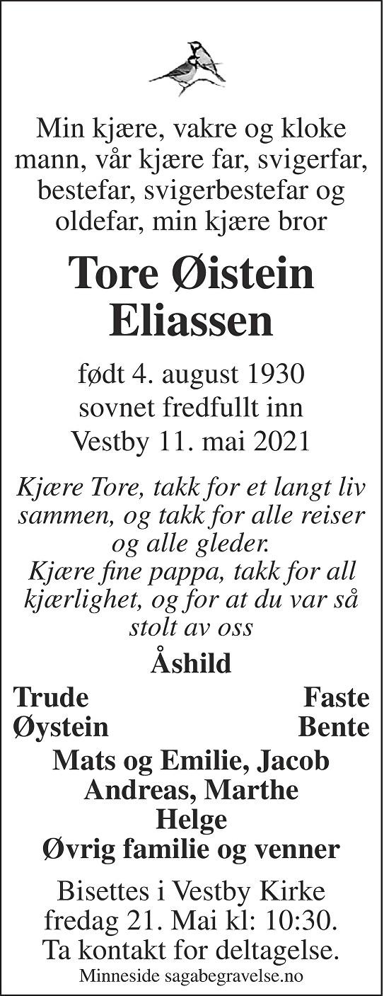 Tore Øistein Eliassen Dødsannonse