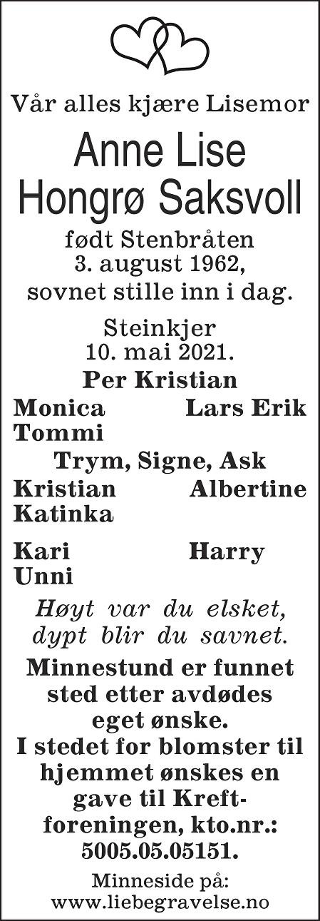Anne Lise Hongrø Saksvoll Dødsannonse