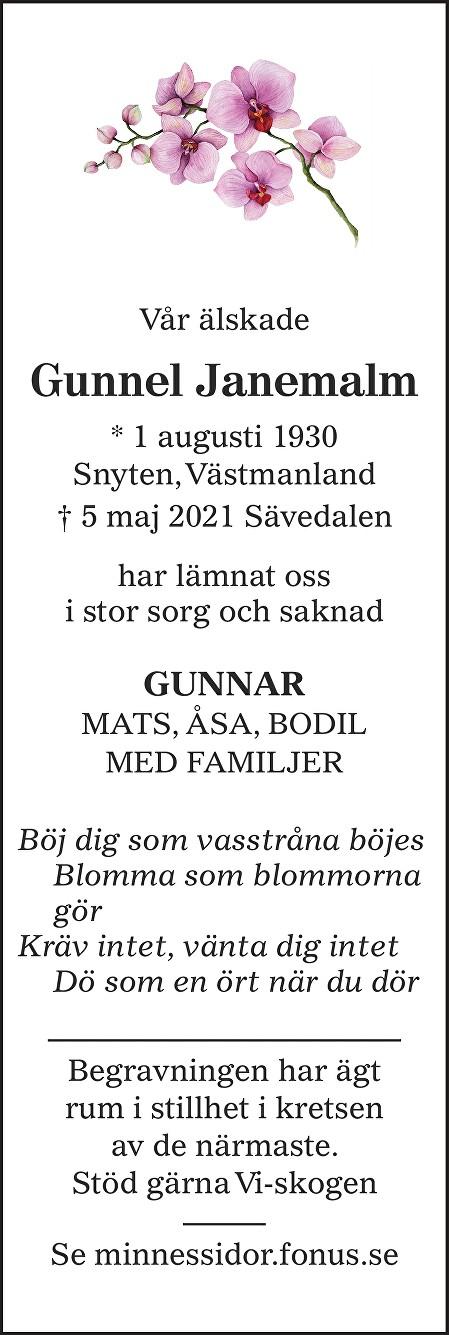 Gunnel Janemalm Death notice