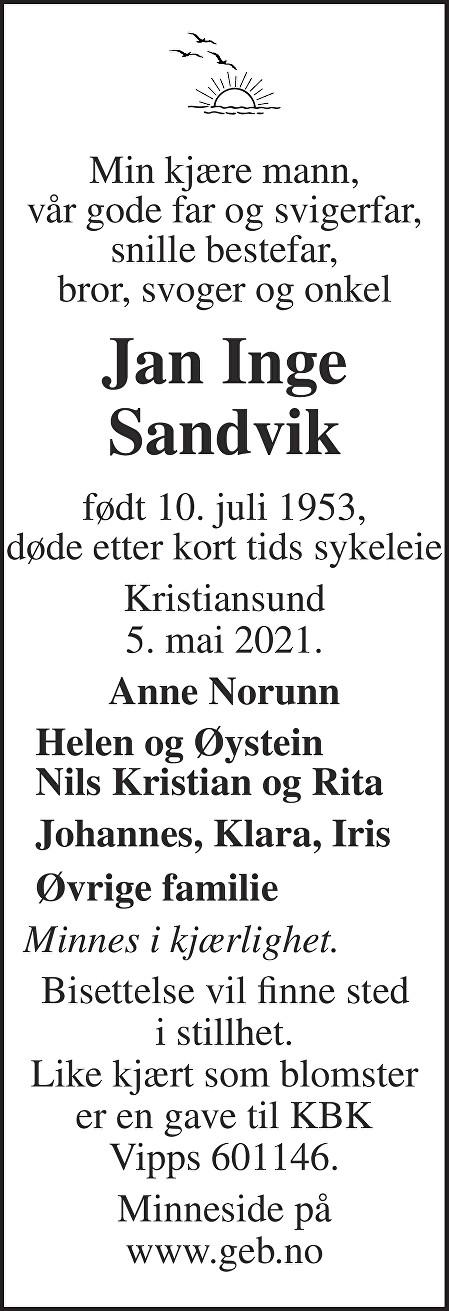 Jan Inge Sandvik Dødsannonse