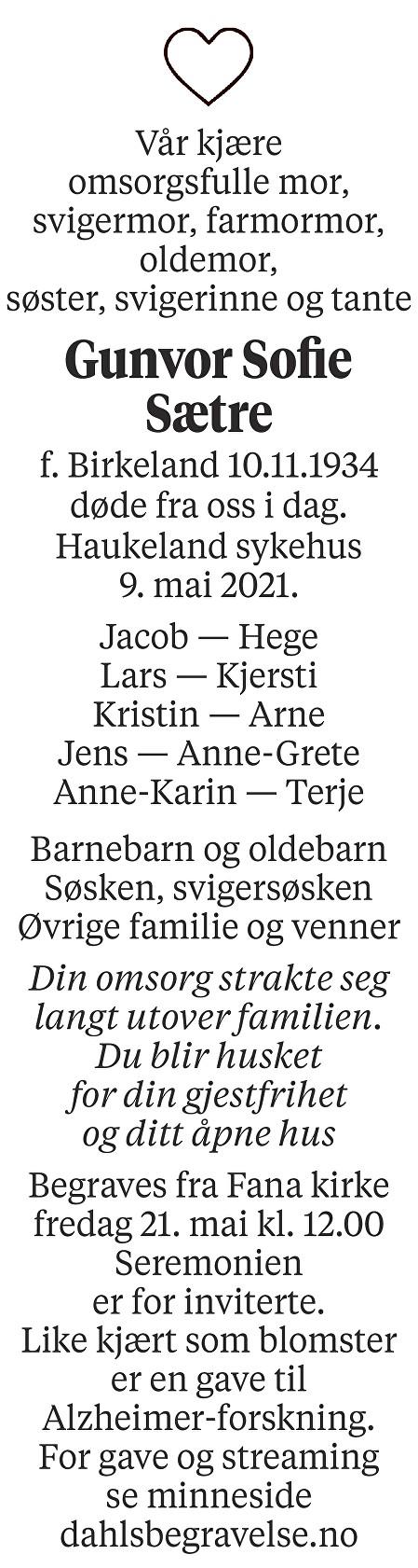 Gunvor Sofie Sætre Dødsannonse