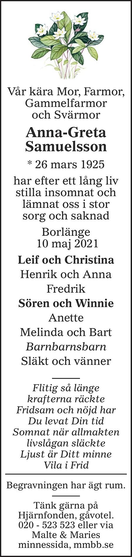 Anna-Greta Samuelsson Death notice