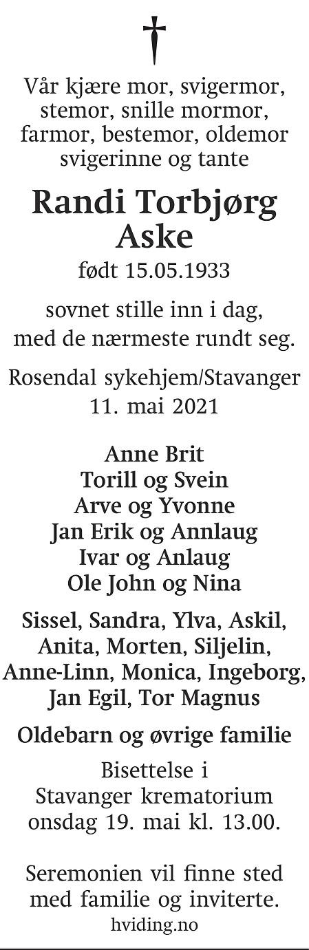 Randi Torbjørg Aske Dødsannonse