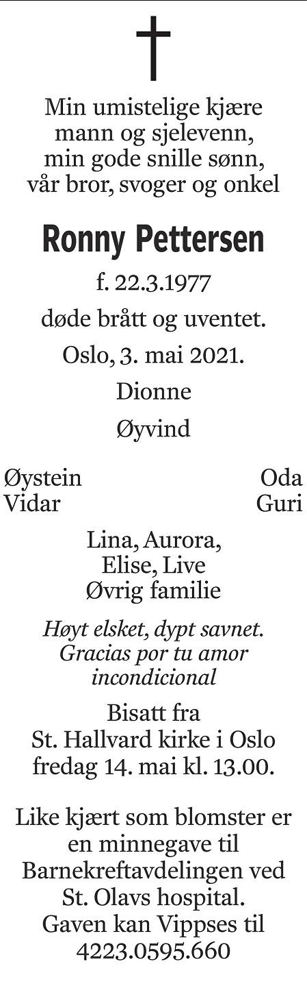 Ronny Pettersen Dødsannonse