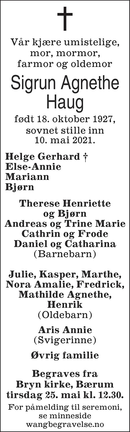 Sigrun Agnethe Haug Dødsannonse