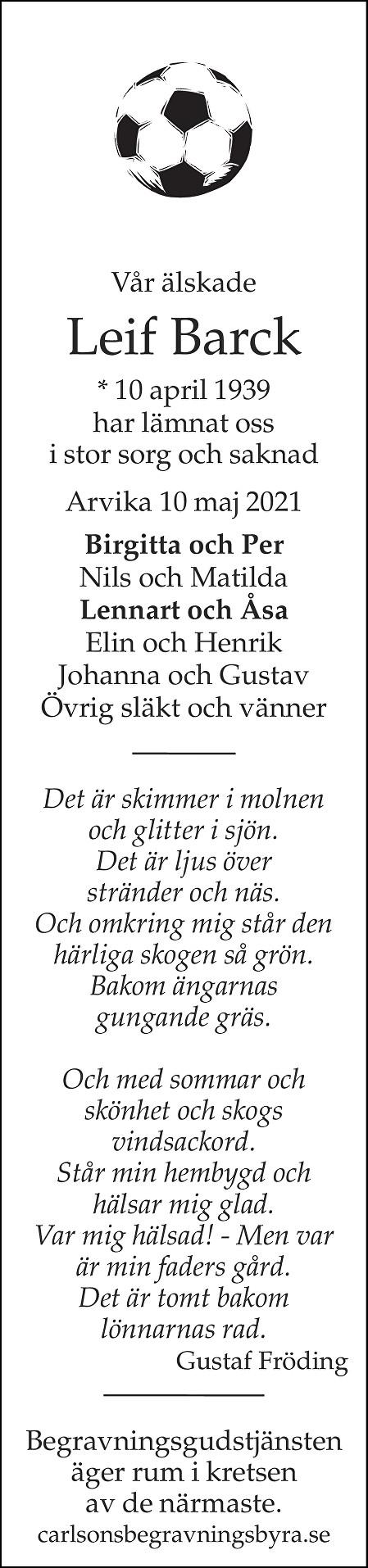 Leif Barck Death notice