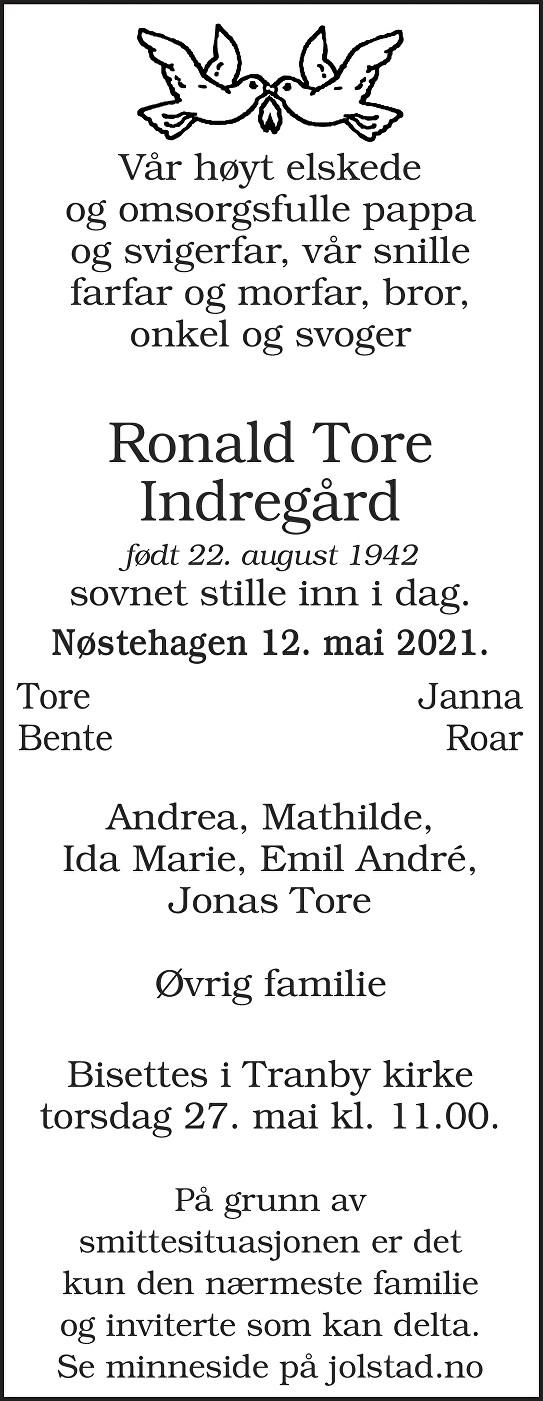 Ronald Tore Indregård Dødsannonse