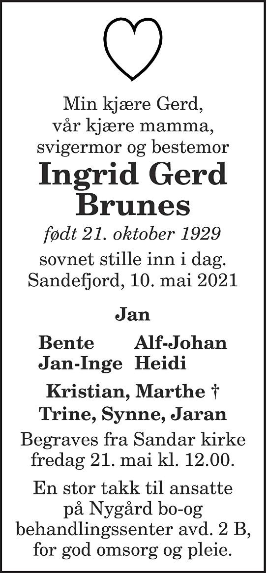 Ingrid Gerd Brunes Dødsannonse