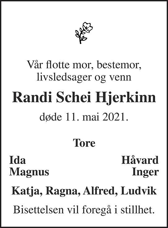 Randi Schei Hjerkinn Dødsannonse