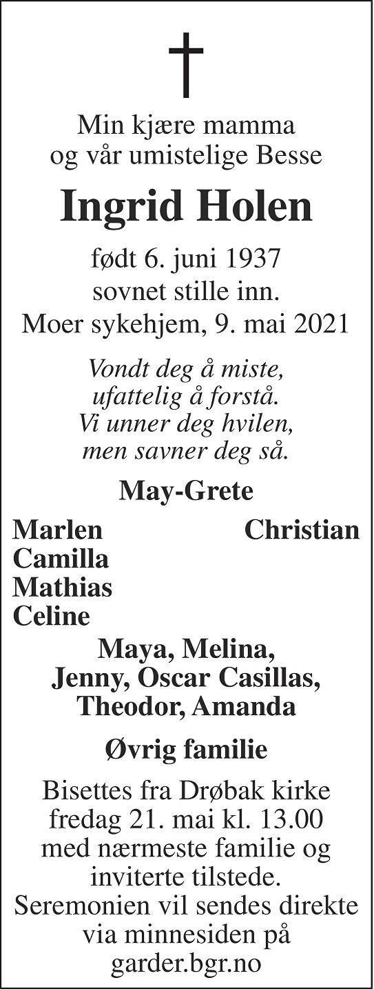 Ingrid Holen Dødsannonse