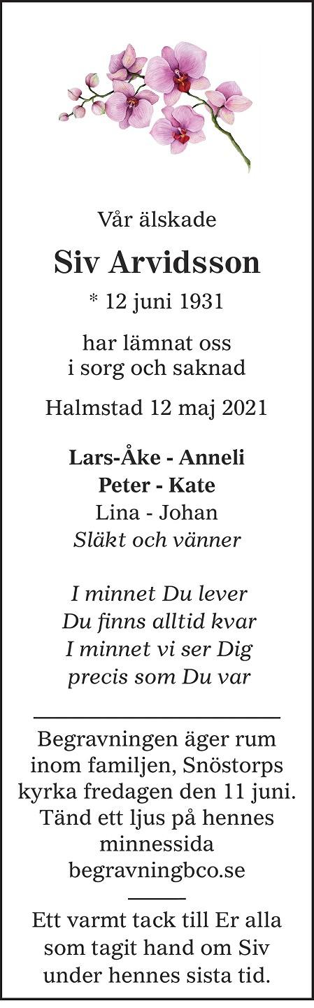 Siv Arvidsson Death notice