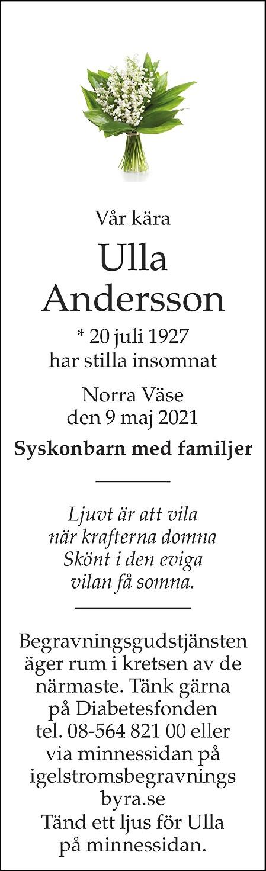 Ulla Andersson Death notice