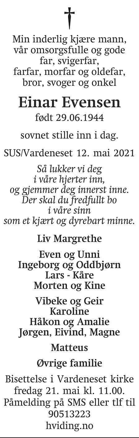 Einar Evensen Dødsannonse