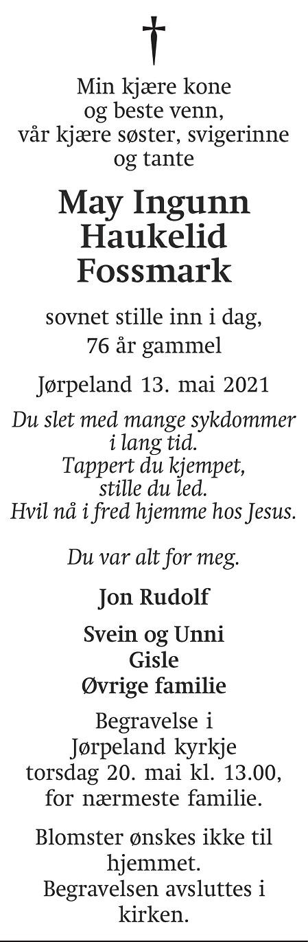 May Ingunn Haukelid  Fossmark Dødsannonse
