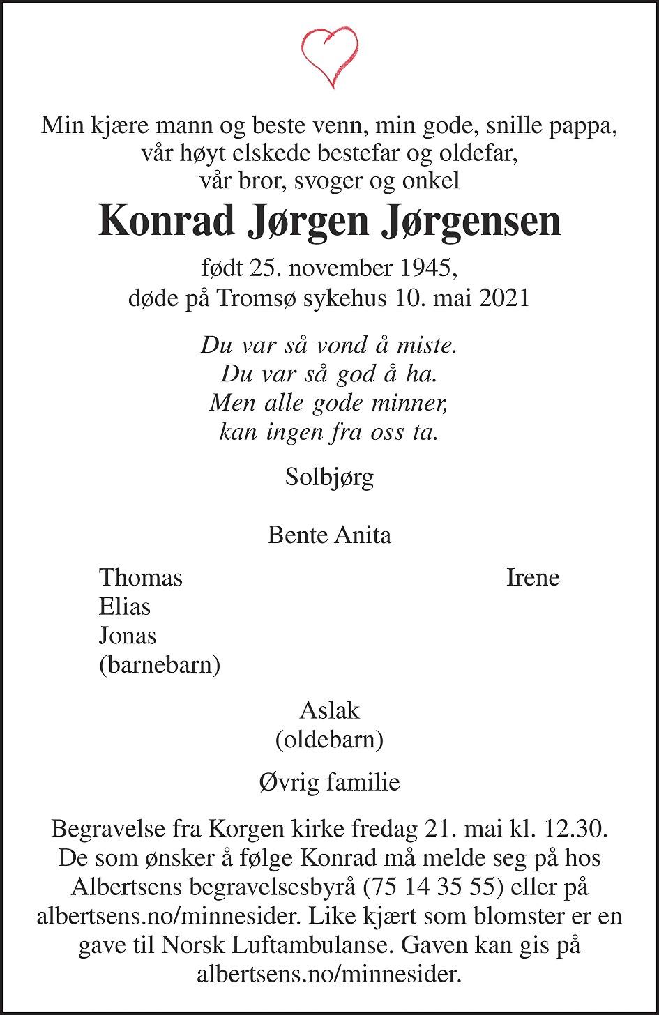 Konrad Jørgen Jørgensen Dødsannonse