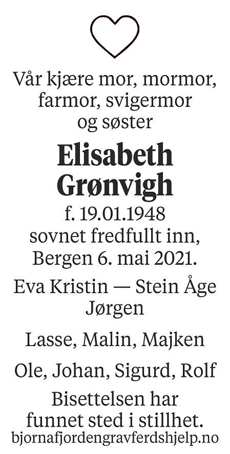 Elisabeth Grønvigh Dødsannonse