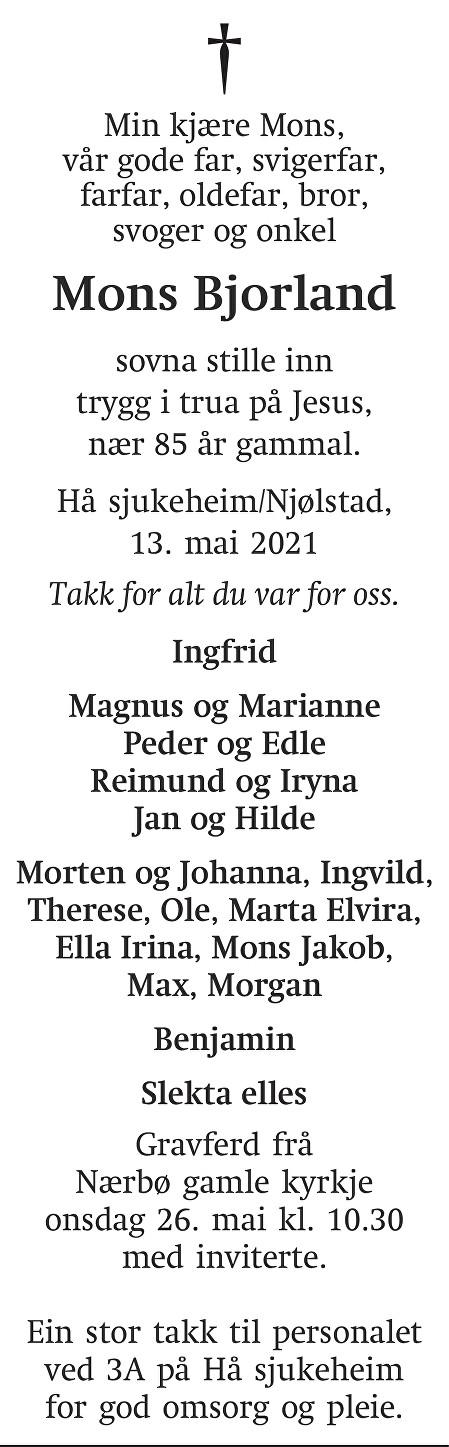 Mons Bjorland Dødsannonse