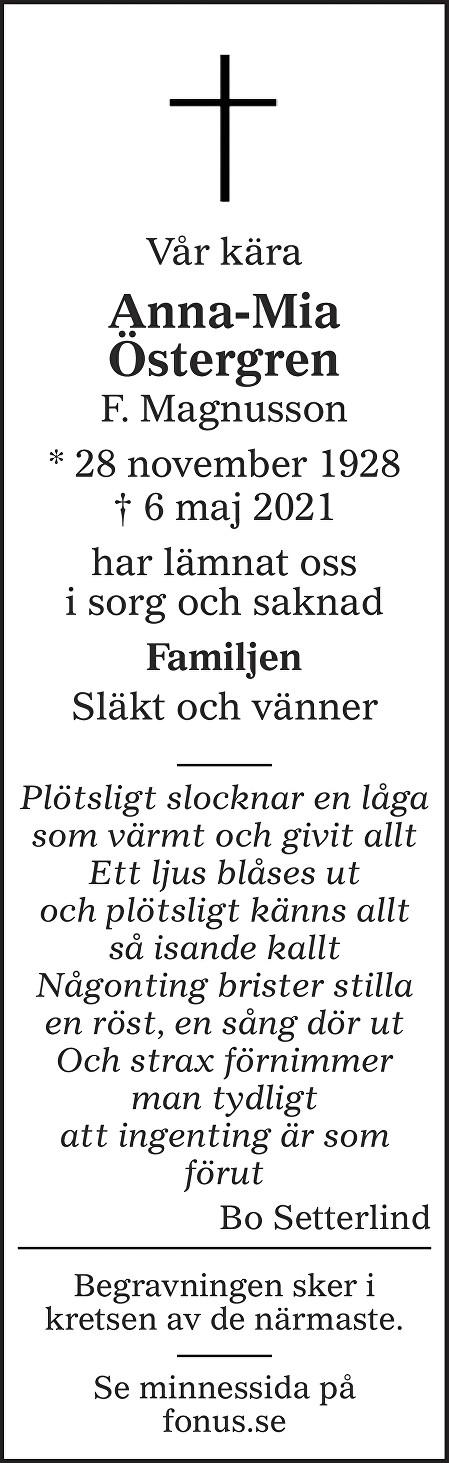 Anna-Mia Östergren Death notice