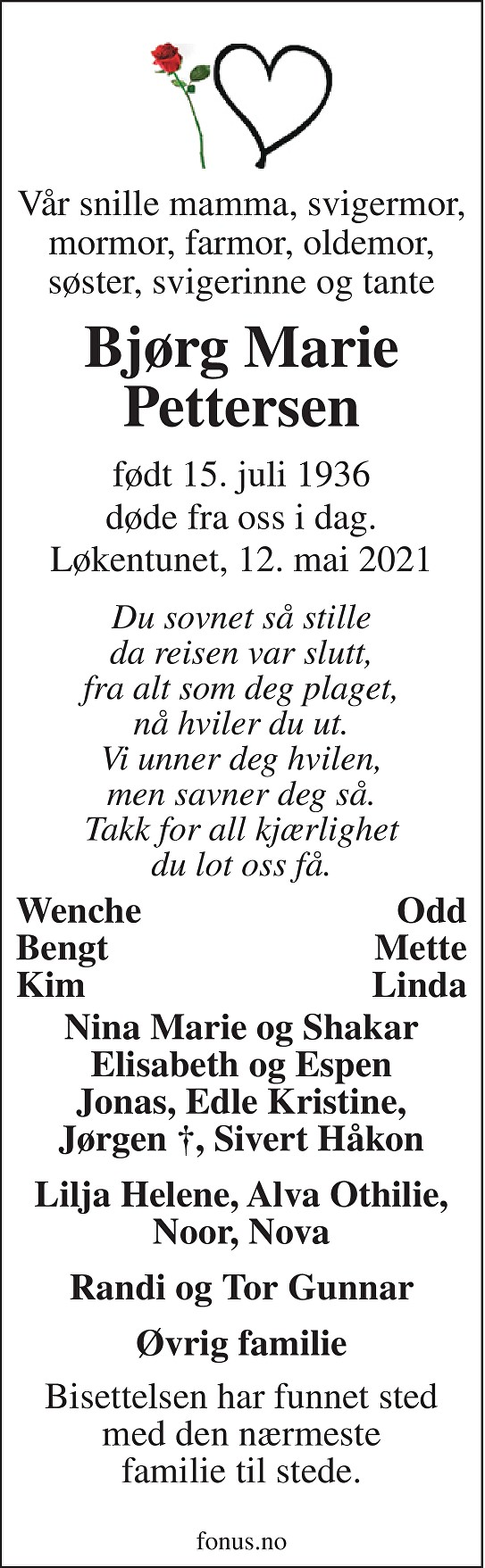 Bjørg Marie Pettersen Dødsannonse