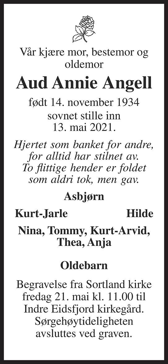 Aud Anne Angell Dødsannonse