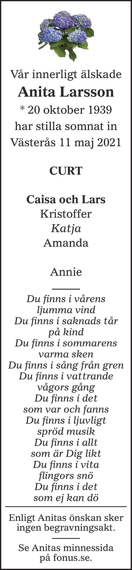 Anita Larsson Death notice