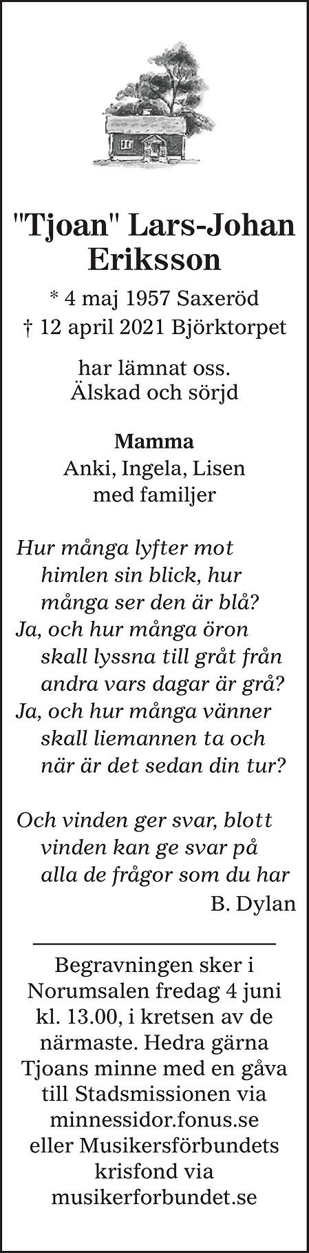 Lars-Johan Eriksson Death notice