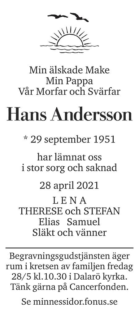 Hans Andersson Death notice