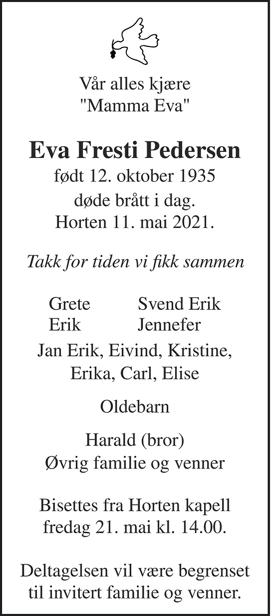 Eva Margrete Pedersen Dødsannonse