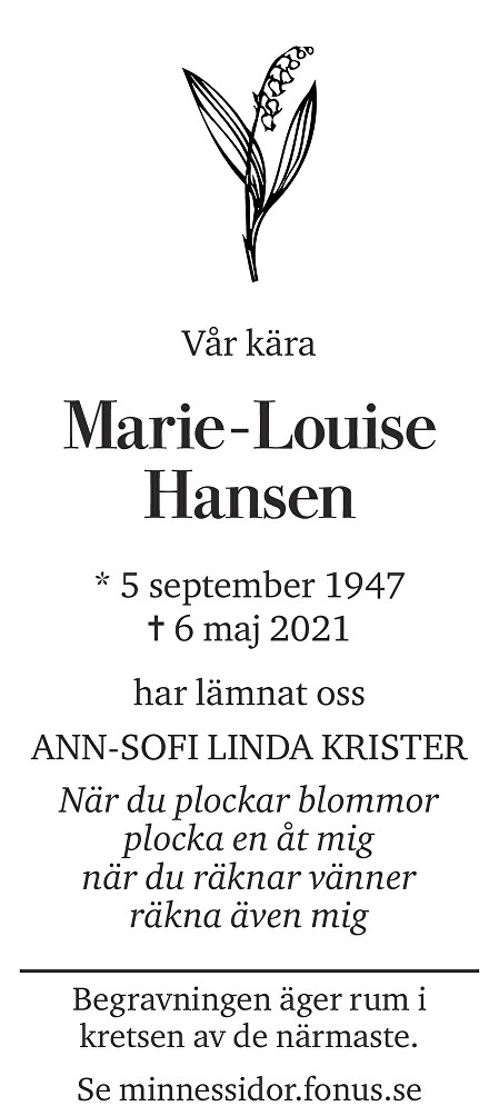 Marie-Louise Hansen Death notice