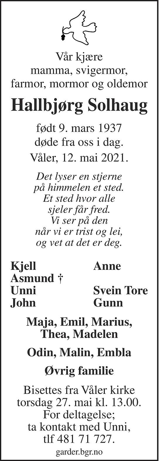 Hallbjørg Solhaug Dødsannonse