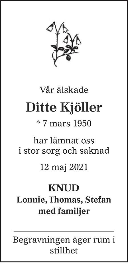 Ditte Kjöller Death notice